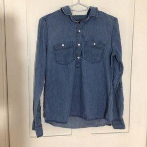 Faux Denim Long Sleeve Button Up Shirt - Joe Fresh